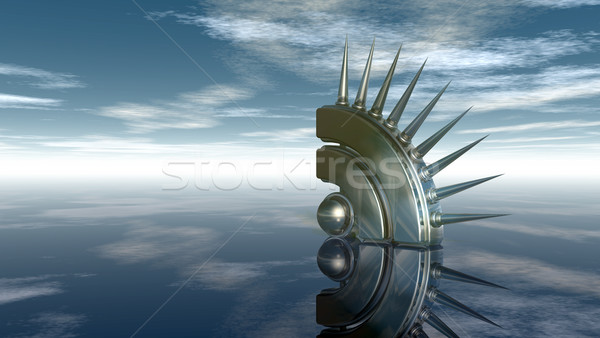 Rss symbool bewolkt blauwe hemel 3d illustration computer Stockfoto © drizzd