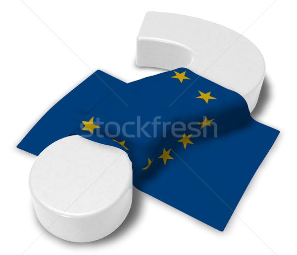 Kérdőjel zászló európai szövetség 3d illusztráció felirat Stock fotó © drizzd