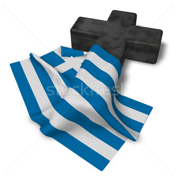 christian cross and flag of greece - 3d rendering Stock photo © drizzd