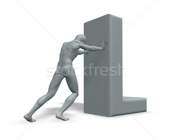man pushes uppercase letter L Stock photo © drizzd