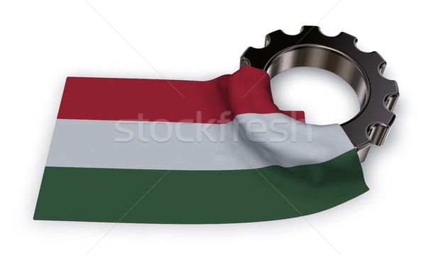 gear wheel and flag of hungaria - 3d rendering Stock photo © drizzd