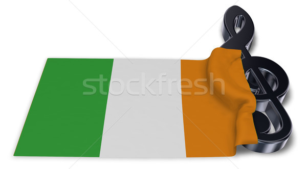 clef symbol and irish  flag - 3d rendering Stock photo © drizzd