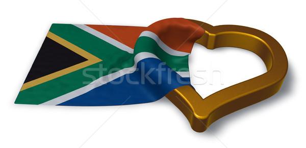 Pavillon république Afrique du Sud coeur symbole 3D Photo stock © drizzd