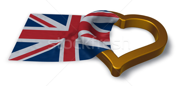 flag of the uk and heart symbol - 3d rendering Stock photo © drizzd