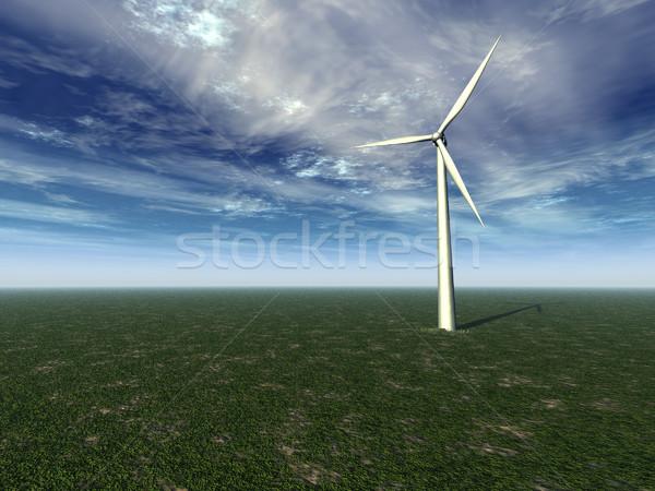 風 ジェネレータ 風車 フィールド 曇った 空 ストックフォト © drizzd