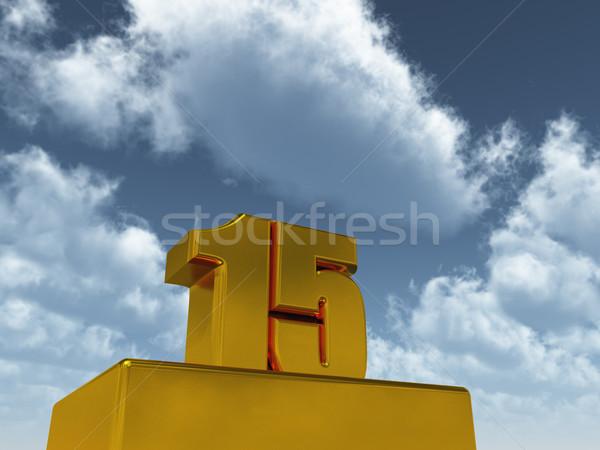 Quinze número 15 blue sky ilustração 3d festa Foto stock © drizzd