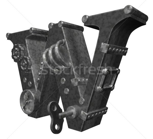 Steampunk w betű fehér 3d illusztráció óra művészet Stock fotó © drizzd