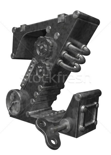 Steampunk z betű fehér 3d illusztráció óra művészet Stock fotó © drizzd