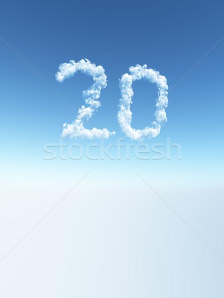 Nublado vinte nuvens forma número ilustração 3d Foto stock © drizzd