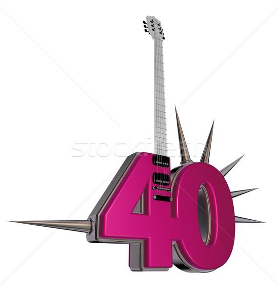 Numer czterdzieści gitara biały 3d ilustracji metal Zdjęcia stock © drizzd