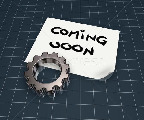 Binnenkort tag papier vel versnelling wiel Stockfoto © drizzd