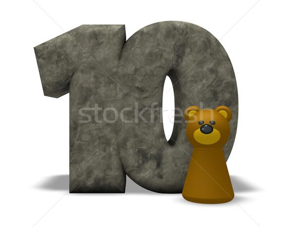 Foto stock: Número · dez · tenha · pedra · ilustração · 3d