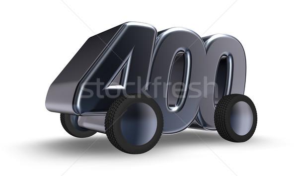Quatre cent roues nombre 3d illustration voiture Photo stock © drizzd