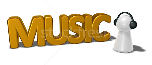 music tag and pawn with headphones - 3d rendering Stock photo © drizzd