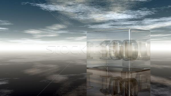 Legelső száz üveg kocka felhős égbolt Stock fotó © drizzd