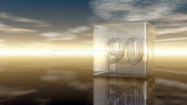Foto stock: Número · vidro · cubo · nublado · céu · 3D