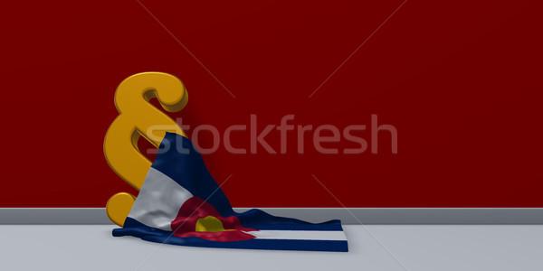 Vlag paragraaf symbool 3d illustration rechter cultuur Stockfoto © drizzd