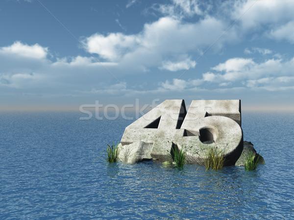 Negyven öt szám óceán 3d illusztráció tájkép Stock fotó © drizzd