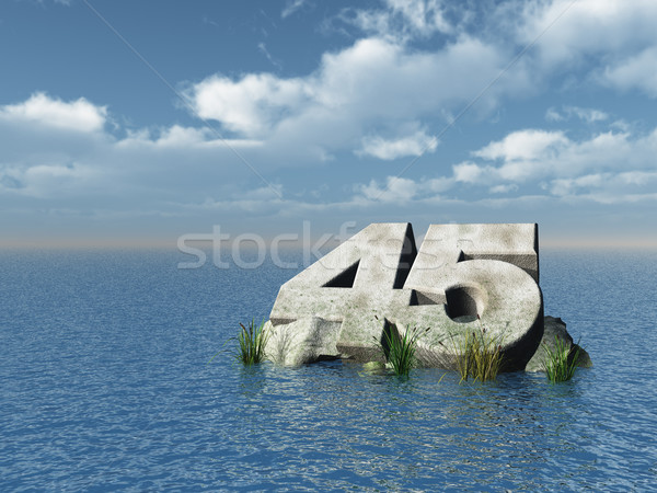 Kırk beş numara okyanus 3d illustration manzara Stok fotoğraf © drizzd