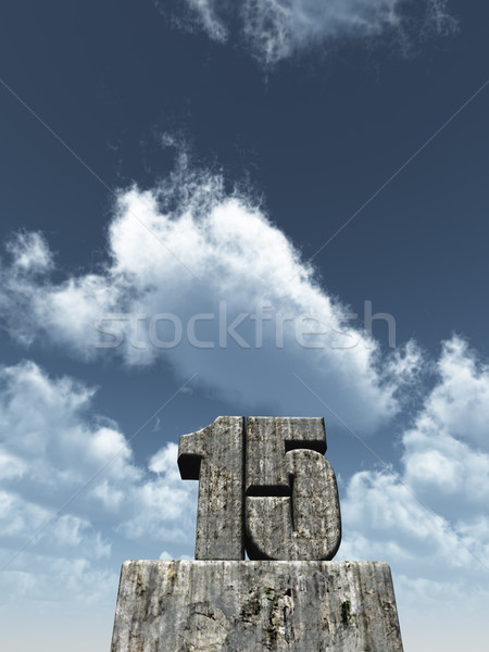 Aantal vijftien 15 blauwe hemel 3d illustration partij Stockfoto © drizzd