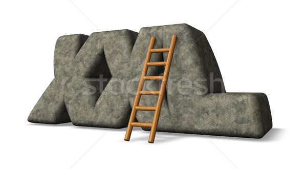 Xxl etiket taş merdiven 3d illustration mektup Stok fotoğraf © drizzd