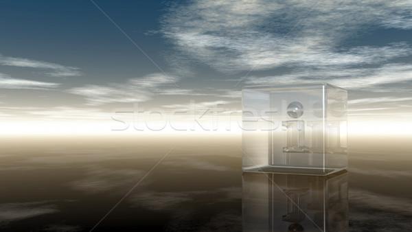 Glas kubus letter i bewolkt hemel 3d illustration Stockfoto © drizzd