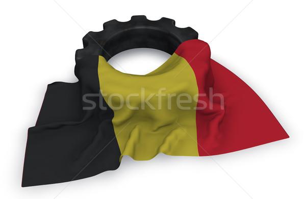 Viselet kerék zászló 3D renderelt kép építkezés Stock fotó © drizzd