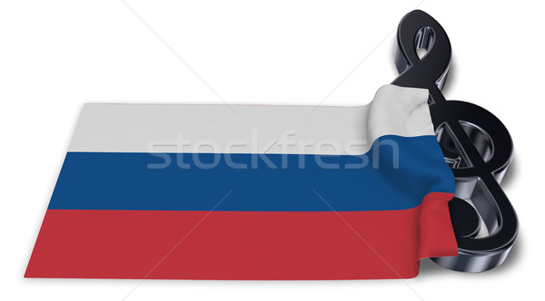 clef and russian flag - 3d rendering Stock photo © drizzd