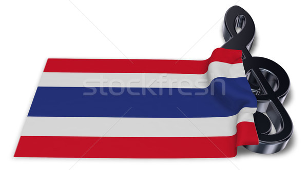 clef symbol symbol and flag of thailand - 3d rendering Stock photo © drizzd