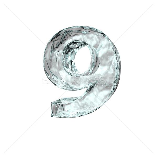 Zamrożone numer dziewięć biały 3d ilustracji urodziny Zdjęcia stock © drizzd