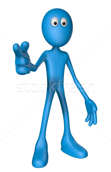 Işaret parmağı makas mavi adam birisi 3d illustration Stok fotoğraf © drizzd