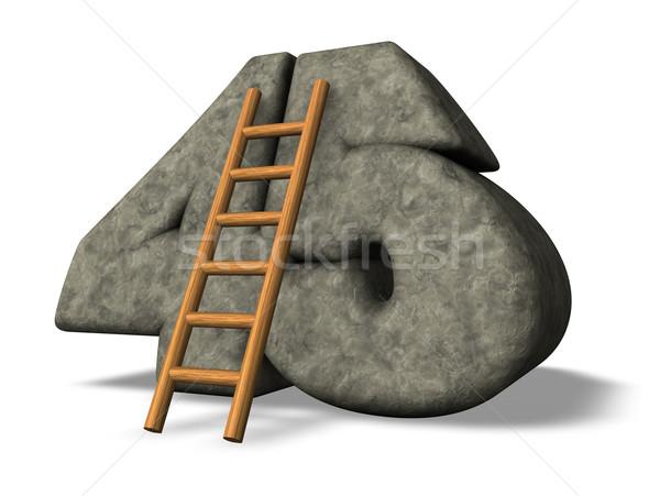 Numer czterdzieści pięć drabiny kamień 3d ilustracji Zdjęcia stock © drizzd