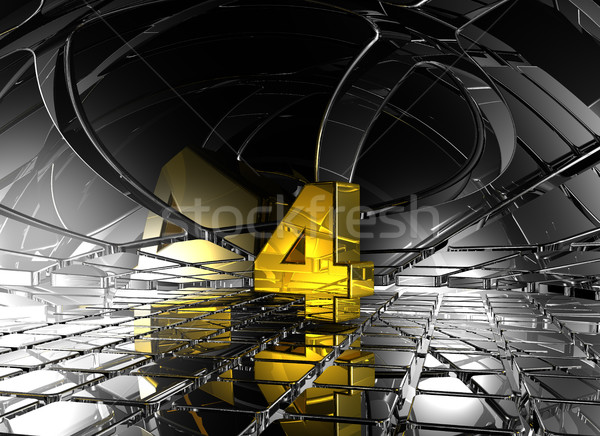 number four in abstract futuristic space - 3d rendering Stock photo © drizzd