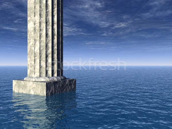 Starych ocean 3d ilustracji wody chmury Zdjęcia stock © drizzd