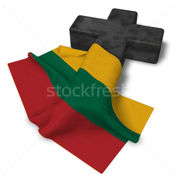 christian cross and flag of Lithuania - 3d rendering Stock photo © drizzd