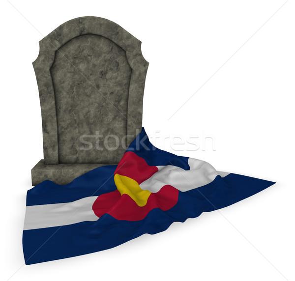 Nagrobek banderą 3D śmierci kamień Zdjęcia stock © drizzd
