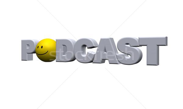 Podcast parola bianco illustrazione 3d musica Foto d'archivio © drizzd