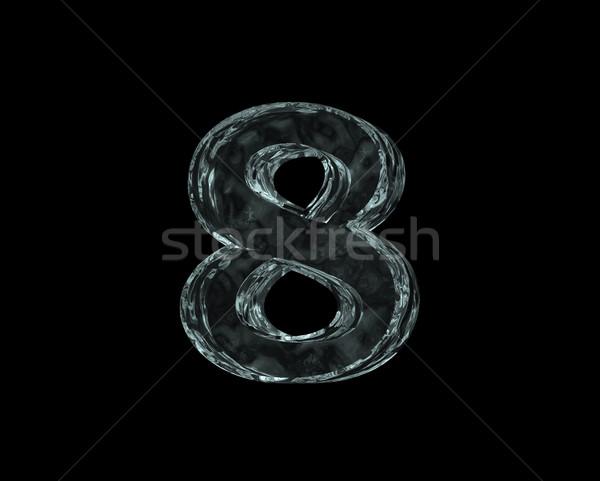 заморожены числа восемь черный 3d иллюстрации рождения Сток-фото © drizzd