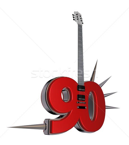 Сток-фото: числа · гитаре · белый · 3d · иллюстрации · металл · рок