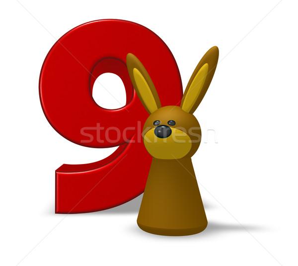 Numero nove coniglio illustrazione 3d coniglio anniversario Foto d'archivio © drizzd