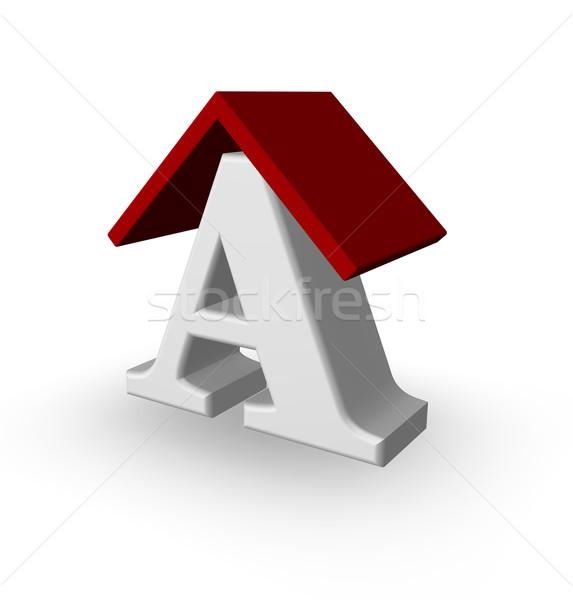 屋上 手紙 白 3次元の図 家 保護 ストックフォト © drizzd