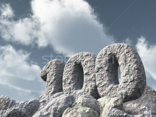 Legelső száz kő 3D renderelt kép felhős Stock fotó © drizzd