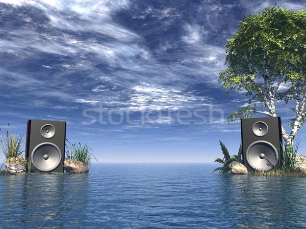 Stereo oceaan 3d illustration hemel water muziek Stockfoto © drizzd