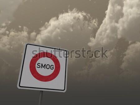 Stock fotó: Szmog · útjelzés · sötét · égbolt · 3d · illusztráció · Föld