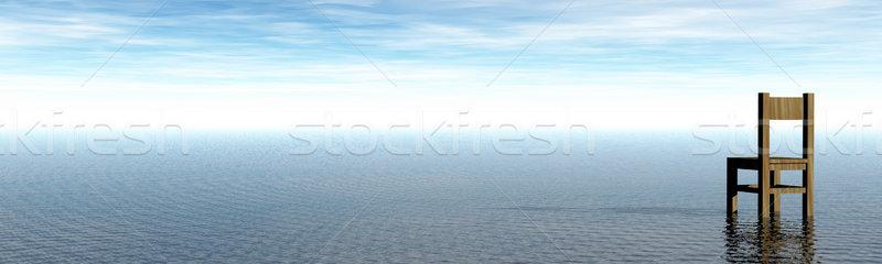 Yalnız sandalye su manzara 3d illustration Stok fotoğraf © drizzd