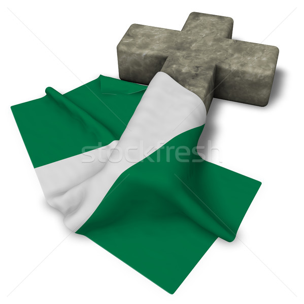 christian cross and flag of nigeria - 3d rendering Stock photo © drizzd