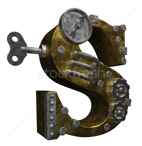 Steampunk lettre blanche 3d illustration technologie métal Photo stock © drizzd
