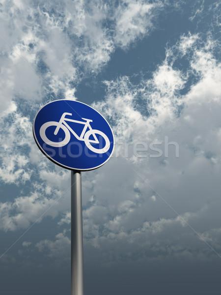 útjelzés bicikli felhős égbolt 3d illusztráció felirat Stock fotó © drizzd
