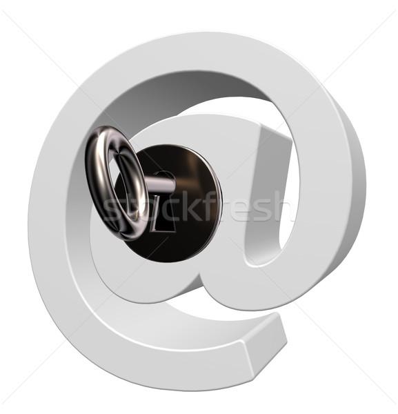 Email biztonság szimbólum kulcs fehér 3d illusztráció Stock fotó © drizzd