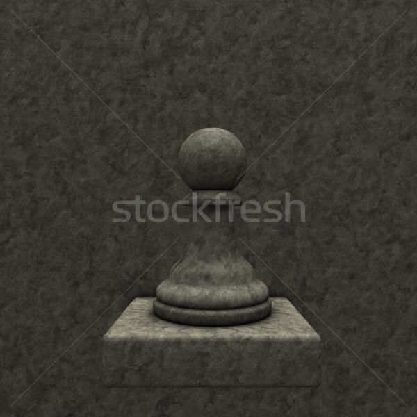 Ajedrez peón piedra 3d negro poder Foto stock © drizzd